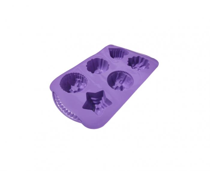 Forma pentru 6 Prajituri si Dulciuri, din Silicon Non-Stick, Mov, Calitate Premium [0]