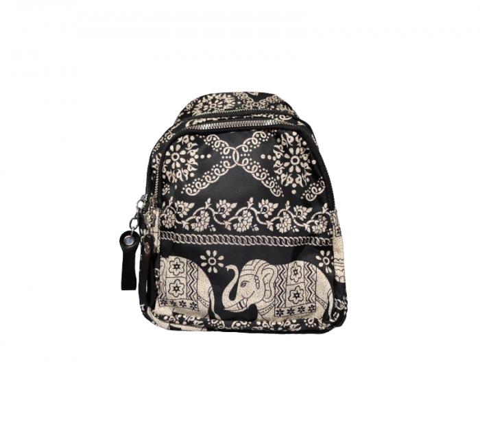 Ghiozdan cu 7 Buzunare si Bretele Ajustabile, Textil, Model Deosebit Premium, Imprimeu Elefant, Original Deals® [0]