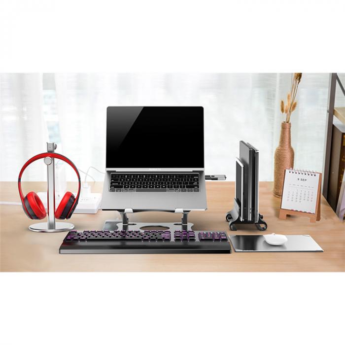 Suport pentru Laptop sau Notebook din Aluminiu, Pozitie si Inaltime Ajustabila, Portabil, Design Premium, Compatibilitate Universala 0