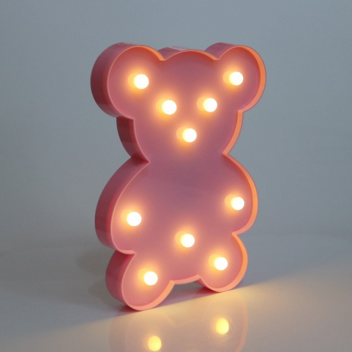 Lampa de Veghe cu Lumina Ambientala cu 10 Becuri LED Lumina Calda - Ursulet, Roz [3]