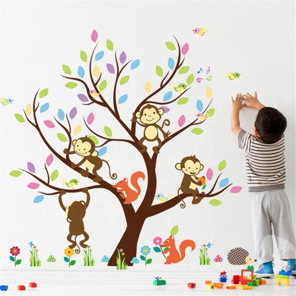 Sticker Decorativ Autocolant Autoadeziv Copac cu Maimute, Veverite, Arici si Pasari pentru Camera Copilului 1