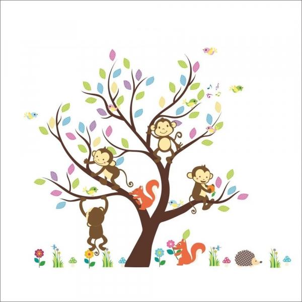 Sticker Decorativ Autocolant Autoadeziv Copac cu Maimute, Veverite, Arici si Pasari pentru Camera Copilului 2