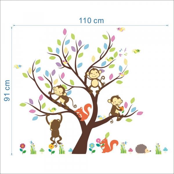 Sticker Decorativ Autocolant Autoadeziv Copac cu Maimute, Veverite, Arici si Pasari pentru Camera Copilului 4