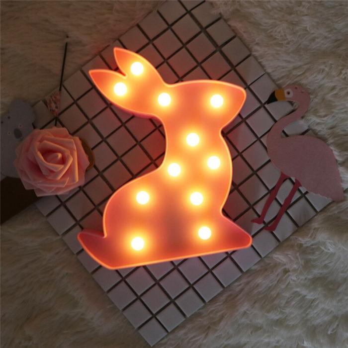Lampa de Veghe cu Lumina Ambientala cu 11 Becuri LED Lumina Calda - Iepure, Roz [2]