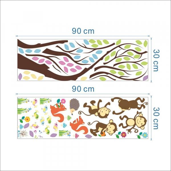 Sticker Decorativ Autocolant Autoadeziv Copac cu Maimute, Veverite, Arici si Pasari pentru Camera Copilului 5