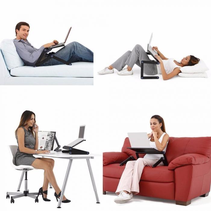 Suport Multifunctional pentru Laptop cu Cooler Puternic si Suport pentru Mouse, din Aluminiu Premium [2]
