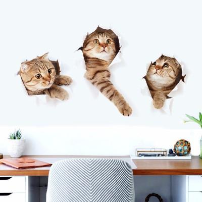 Sticker Autocolant Decorativ pentru Multiple Suprafete cu 3 Pisici Simpatice [6]