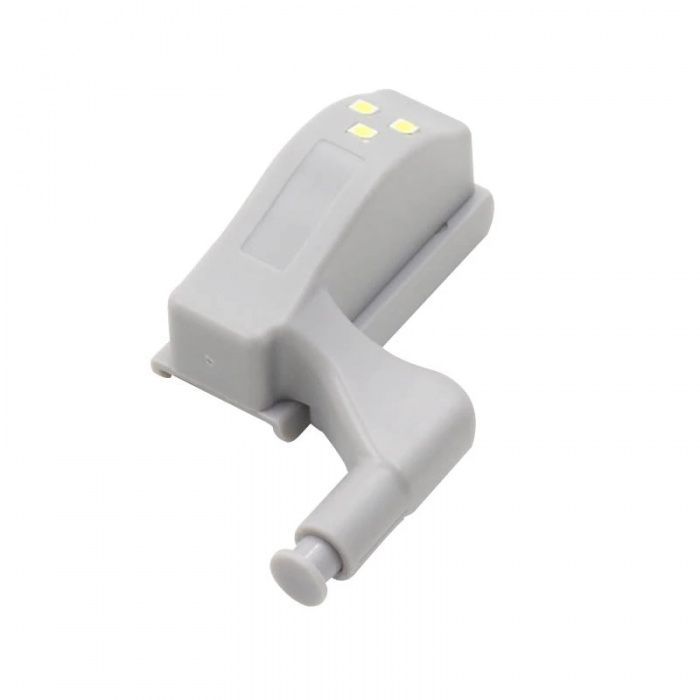 Set 2x Lampa cu Bec LED smd pentru Balamale Mobila 12V, Baterii Incluse, Universal, Gri [13]