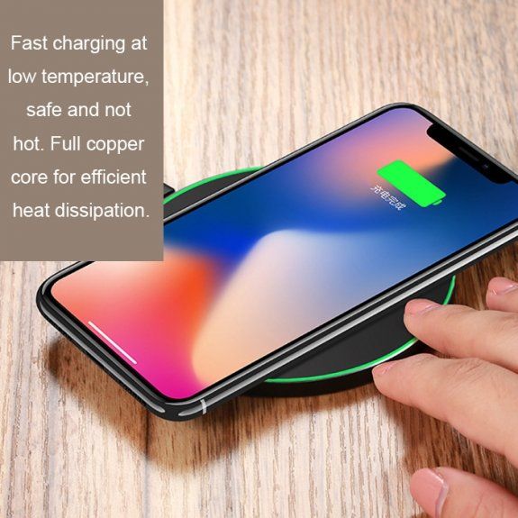 Incarcator Wireless Fast Charge Ultra-Slim Qi Compatibil Android IOS 1.2A - Alb Incarcator samsung apple huawei original  Incarcare rapida fast charge fara fir 8