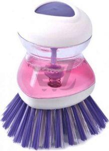 Perie pentru Spalat Vase cu Recipient pentru Detergent Lichid, Premium, Mov [0]