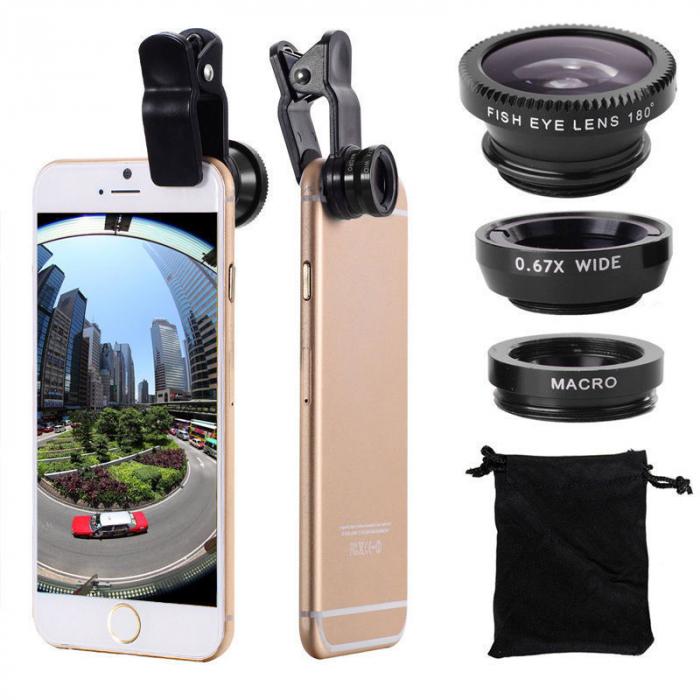 Set Lentile Profesionale 3in1 pentru Telefon sau Tableta 180 Fisheye, 10X Macro Lens, 0.65X Wide Angle Lentila Foto Video Lentile Foto Video Lentile pentru telefon Fisheye [6]