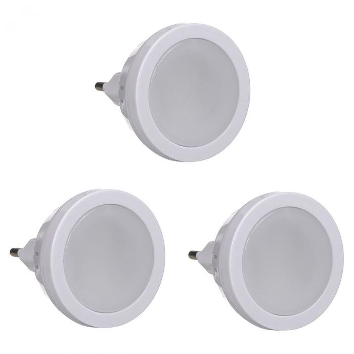 Set 3 Spoturi LED cu Senzor Luminos pentru Lumina de Veghe, la Retea, Universal, Alb [0]