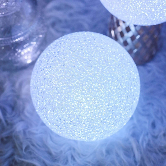 Lampa LED Decorativa cu Lumina Calda, Bulgare de Cristal cu Baterii Incluse, Alb 1