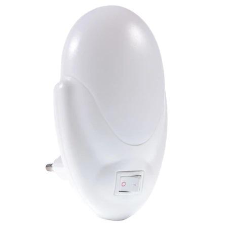 Lampa LED cu Lumina de Veghe Pentru Priza, Intrerupator si Buton On/Off, Lumina Alba, Consum Redus 2W, Universal, Alb 2