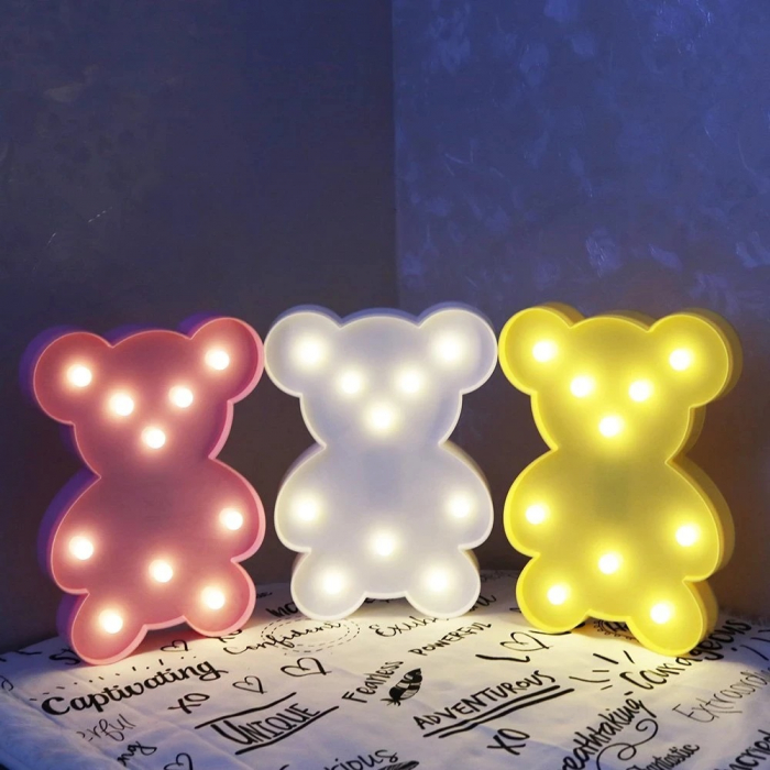 Lampa de Veghe cu Lumina Ambientala cu 10 Becuri LED Lumina Calda - Ursulet, Alb [0]