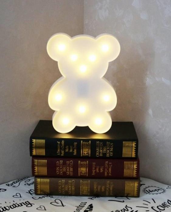 Lampa de Veghe cu Lumina Ambientala cu 10 Becuri LED Lumina Calda - Ursulet, Alb [4]