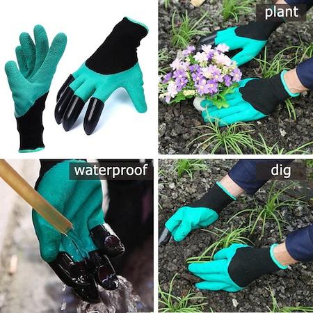 Manusi pentru Gradinarit cu 4 Gheare din PVC, pentru Greblat, Plantat, Sapat 7