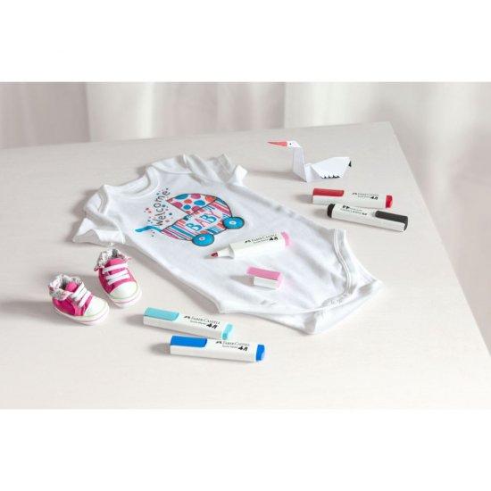 Set 3x Marker Permanent pentru Haine si Textile, 3 Culori, Rosu, Albastru, Galben, Premium, Universal [2]