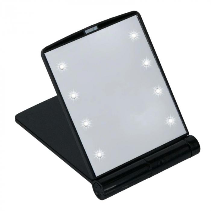 Mini Oglinda Portabila pentru Cosmetica, Make Up si Machiaj, cu 8 LED Integrate, Wireless, cu Baterie Inclusa, Negru 1