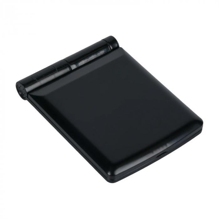 Mini Oglinda Portabila pentru Cosmetica, Make Up si Machiaj, cu 8 LED Integrate, Wireless, cu Baterie Inclusa, Negru 2