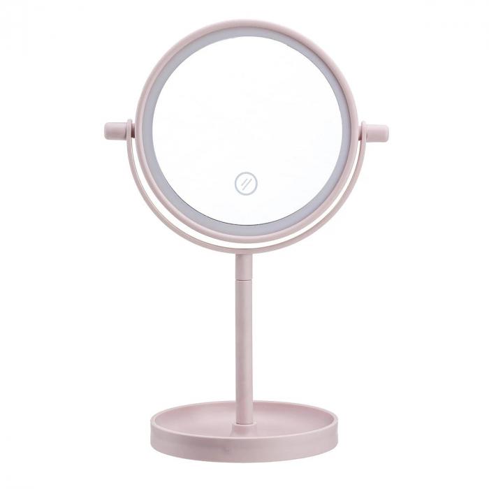 Oglinda de Masa pentru Machiaj si Make Up, cu Lumina LED Integrata, Wireless, cu Baterii, Buton Touch Screen On/Off, Premium, Roz [4]