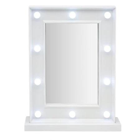 Oglinda de Masa cu 10 Becuri LED, Wireless, cu Baterii pentru Make Up si Machiaj, Buton On/Off, Premium 1