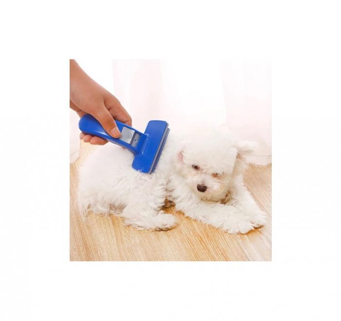 Perie pentru Pieptanat Blana Animale de Companie cu Sistem Mecanic pentru Indepartarea Firelor de Par, PVC, Premium [3]