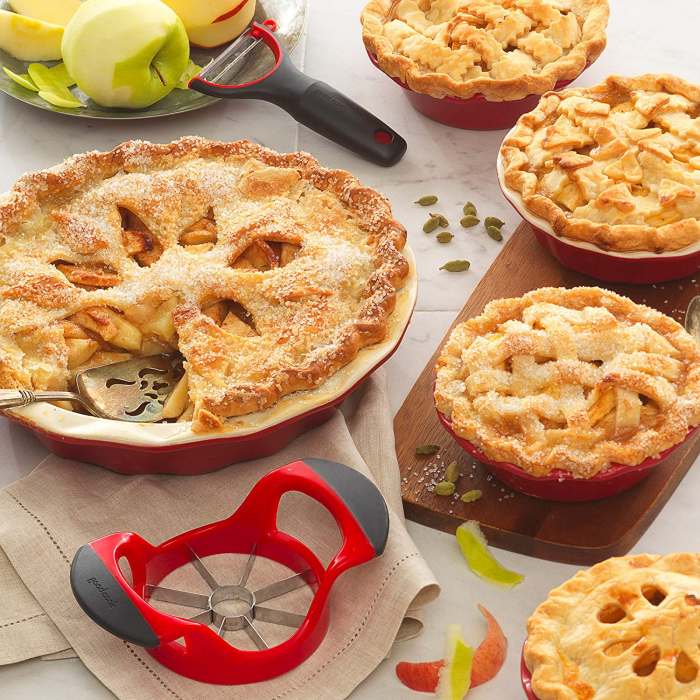 Cutit Feliator Fructe pentru Taiat Mere si Pere in 8 Felii Egale, Premium din PVC si Inox, Rosu [2]