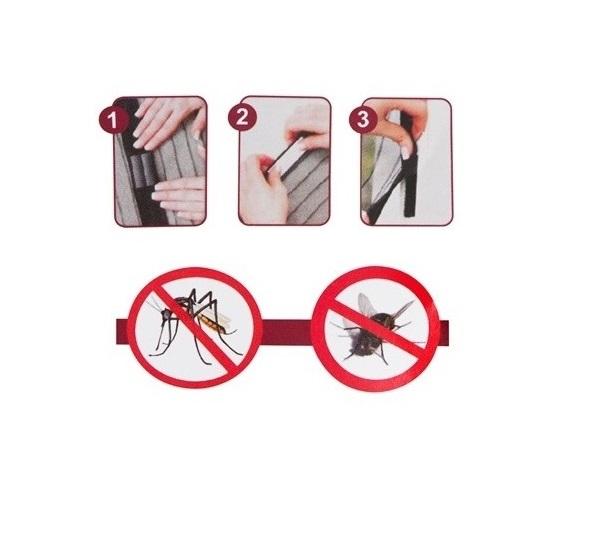 Plasa cu Magnet pentru Fereastra impotriva Tantarilor, Mustelor si a Insectelor Zburatoare, 120 x 120cm, Negru [5]