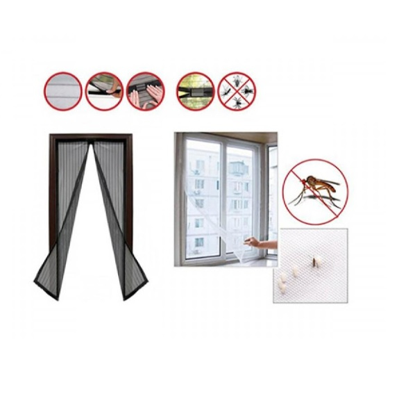 Plasa cu Magnet pentru Fereastra impotriva Tantarilor, Mustelor si a Insectelor Zburatoare, 120 x 120cm, Negru [0]