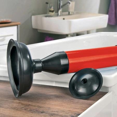 Pompa pentru Desfundat Chiuvete, Cazi, Cabine de Dus, WC, Instalatii de Scurgere si Tevi, cu Maner si 2 Adaptoare, Rosu, Premium [1]