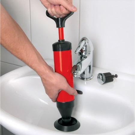 Pompa pentru Desfundat Chiuvete, Cazi, Cabine de Dus, WC, Instalatii de Scurgere si Tevi, cu Maner si 2 Adaptoare, Rosu, Premium [0]