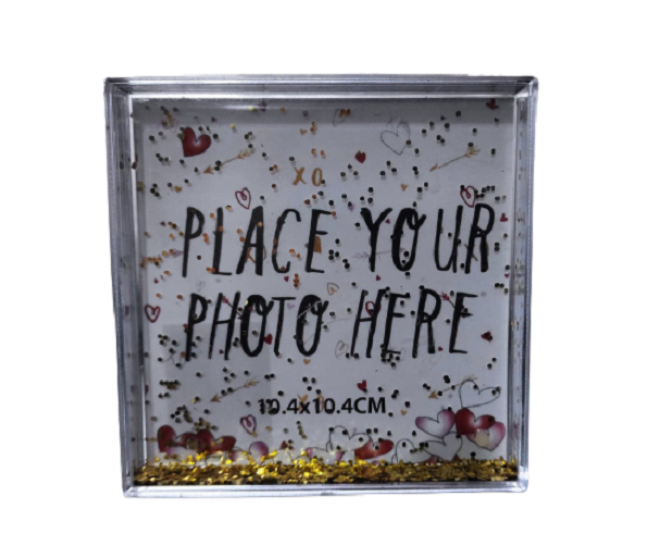 Rama Foto de Birou cu Sclipici Aurii Miscatori, din ABS Transparent pentru o Fotografie 10.4 x 10.4 cm, Model Deosebit 0