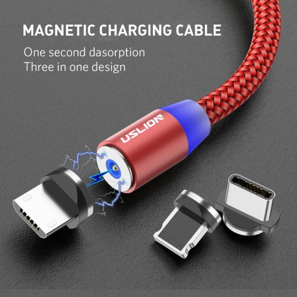Cablu Textil USB Fast & Safe Charging 3.6A cu Mufa Magnetica 360° Cablu de date telefoane Cablu de incarcare telefon 31