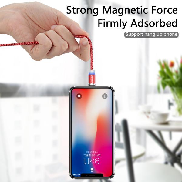 Cablu Textil USB Fast & Safe Charging 3.6A cu Mufa Magnetica 360° Cablu de date telefoane Cablu de incarcare telefon 32