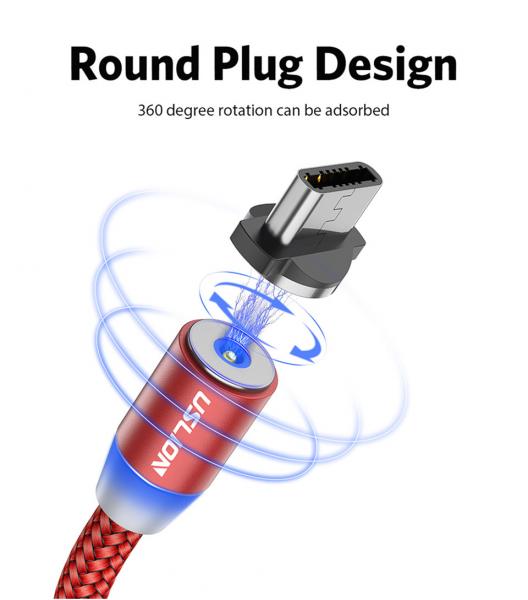 Cablu Textil USB Fast & Safe Charging 3.6A cu Mufa Magnetica 360° Cablu de date telefoane Cablu de incarcare telefon 34