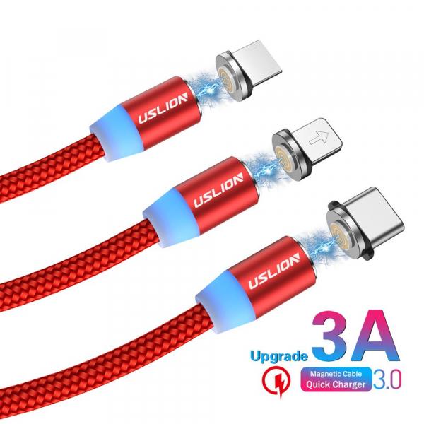 Cablu Textil USB Fast & Safe Charging 3.6A cu Mufa Magnetica 360° Cablu de date telefoane Cablu de incarcare telefon 35