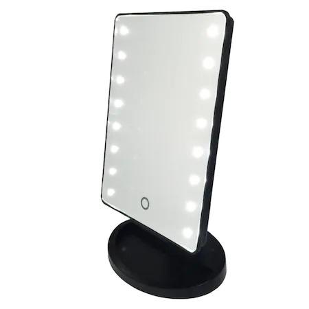 Oglinda de Masa pentru Make Up si Machiaj, cu 16 LED Integrate, Wireless, cu Baterii, Buton On/Off, Premium, Negru 5