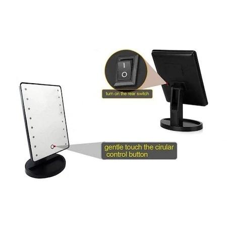 Oglinda de Masa pentru Make Up si Machiaj, cu 16 LED Integrate, Wireless, cu Baterii, Buton On/Off, Premium, Negru 2