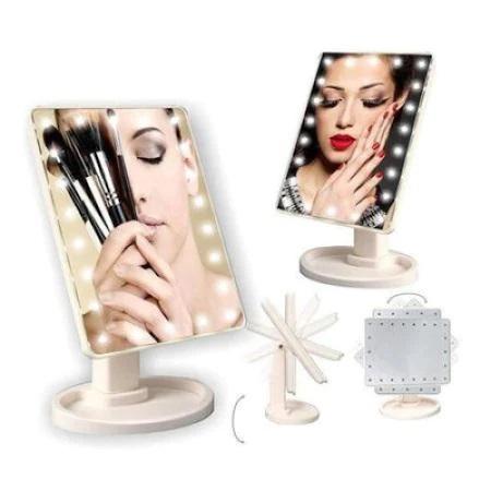 Oglinda de Masa pentru Make Up si Machiaj, cu 16 LED Integrate, Wireless, cu Baterii, Buton On/Off, Premium, Negru 10