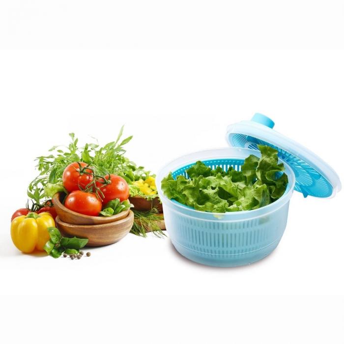 Bol cu Centrifuga pentru Amestecat Salata, Legume si Fructe, Capacitate Mare 4.4L, Capac si Strecuratoare cu Actionare Manuala [4]