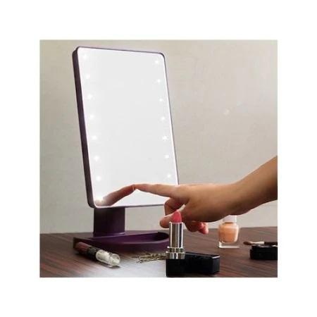 Oglinda de Masa pentru Make Up si Machiaj, cu 16 LED Integrate, Wireless, cu Baterii, Buton On/Off, Premium, Negru 1