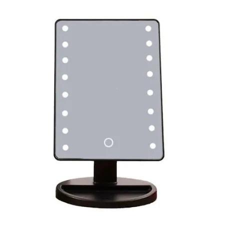 Oglinda de Masa pentru Make Up si Machiaj, cu 16 LED Integrate, Wireless, cu Baterii, Buton On/Off, Premium, Negru 7