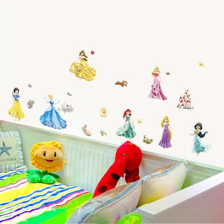 Set Sticker Autocolant 7 Printese Ariel, Rapunzel, Alba ca Zapada, Jasmine, Cenusareasa, Frumoasa din Pardurea Adormita, Frumoasa si Bestia, Bell 1