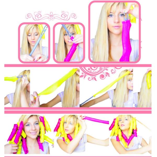 Set 18 Bigudiuri Flexibile Spiralate pentu Coafat Ondulat si Buclat Parul Scurt si Mediu - Multicolor 14