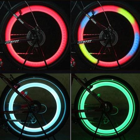 Set 2 Lumini LED pentru Spite Bicicleta, Multicolor cu 3 Moduri de Iluminare, Impermeabile [5]