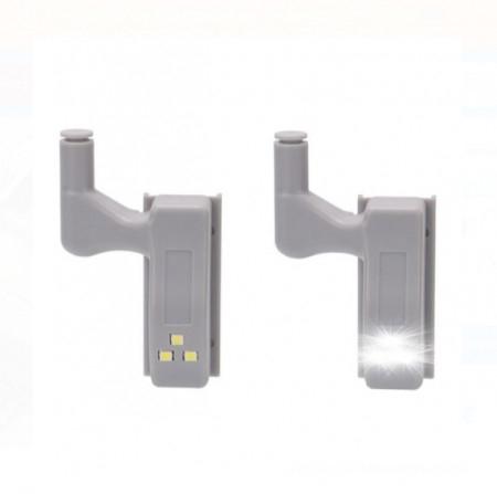 Set 2x Lampa cu Bec LED smd pentru Balamale Mobila 12V, Baterii Incluse, Universal, Gri [3]