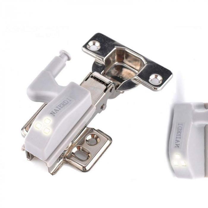 Set 2x Lampa cu Bec LED smd pentru Balamale Mobila 12V, Baterii Incluse, Universal, Gri [11]