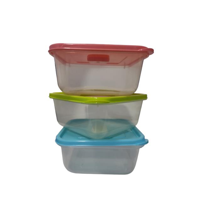 Set 3 Caserole din PVC pentru Depozitat si Transportat Alimente, 14x14 cm, Multicolor [0]