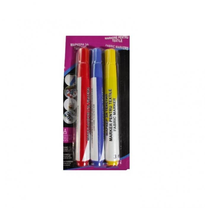 Set 3x Marker Permanent pentru Haine si Textile, 3 Culori, Rosu, Albastru, Galben, Premium, Universal [4]
